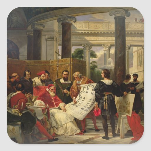 Pope Julius II ordering Bramante Stickers