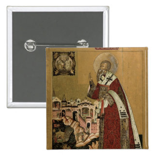 Pope Klemens with scenes from his life 15 Cm Square Badge