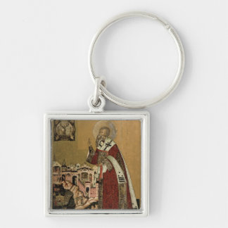 Pope Klemens with scenes from his life Silver-Colored Square Key Ring