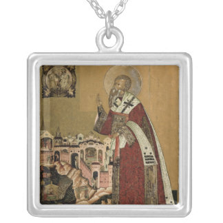 Pope Klemens with scenes from his life Silver Plated Necklace