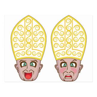 Pope Manga Cartoon Face Postcard