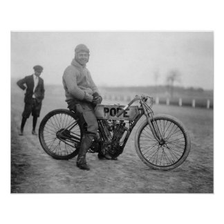Pope Motorcycle Racer 1915 Print