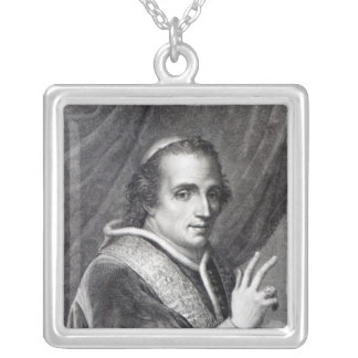 Pope Pius VII, engraved by Rafaello Morghen Silver Plated Necklace