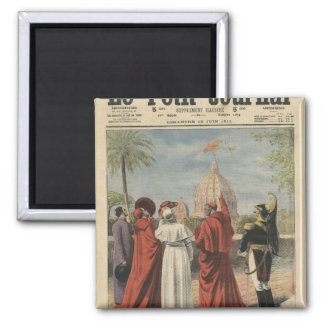Pope Pius X watching  airplane of Andre Beaumont Square Magnet