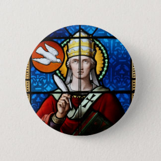 Pope Saint Gregory the Great - Stained Glass 6 Cm Round Badge
