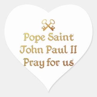 Pope Saint John Paul II Pray for us Heart Stickers