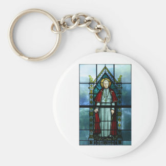 Pope Saint Pius X Stained Glass Art Basic Round Button Key Ring