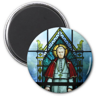 Pope Saint Pius X Stained Glass Art Magnet