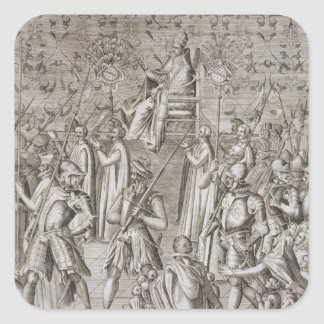 Pope Sixtus V (1521-90) is carried to the Ceremony Square Sticker