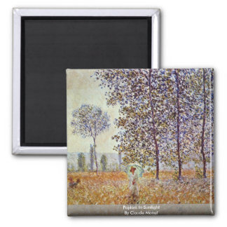 Poplars In Sunlight By Claude Monet Square Magnet