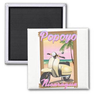 Popoyo Nicaragua beach travel poster Square Magnet