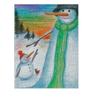 Poppa Snowman and his  little bitty  Snowboy Son! Postcard