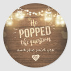 Popped the Question Engagement favour tag Sticker