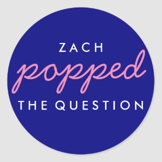 Popped the Question Popcorn Welcome Bag Sticker