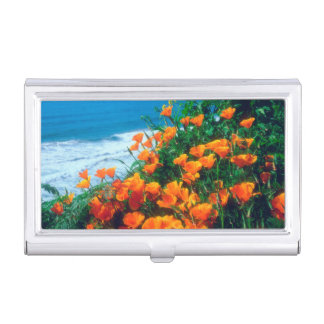 Poppies along the Pacific Coast near Big Sur Business Card Holder