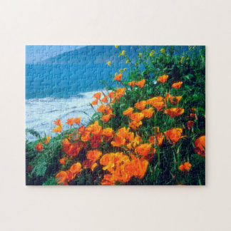 Poppies along the Pacific Coast near Big Sur Jigsaw Puzzle