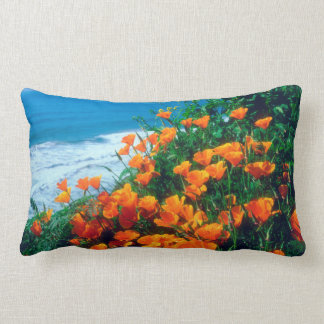 Poppies along the Pacific Coast near Big Sur Lumbar Pillow
