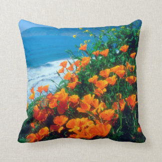 Poppies along the Pacific Coast near Big Sur Throw Pillow