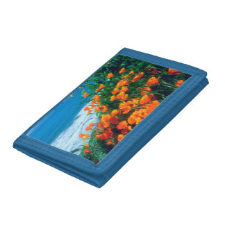 Poppies along the Pacific Coast near Big Sur Tri-fold Wallets