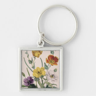 Poppies and Anemones Silver-Colored Square Key Ring