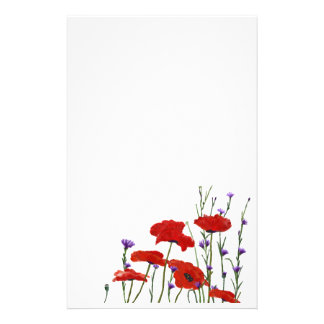 Poppies and Bachelor Buttons Customised Stationery