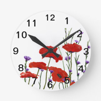 Poppies and Bachelor Buttons Round Clock