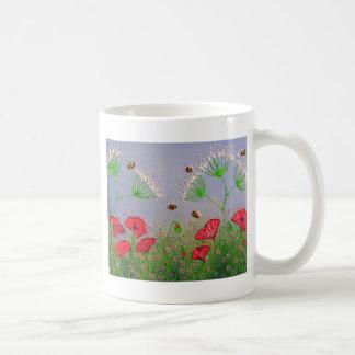 Poppies and Bees Basic White Mug