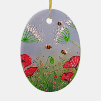 Poppies and Bees Christmas Ornament