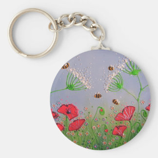 Poppies and Bees Key Ring