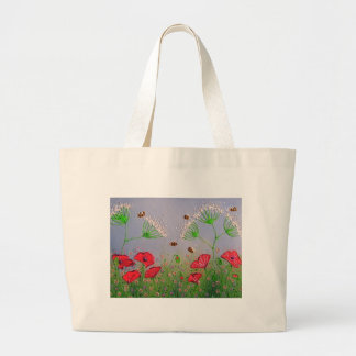 Poppies and Bees Large Tote Bag