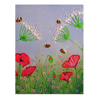 Poppies and Bees Postcard