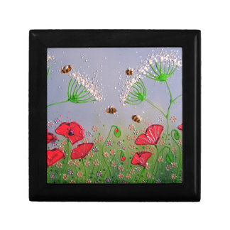 Poppies and Bees Small Square Gift Box