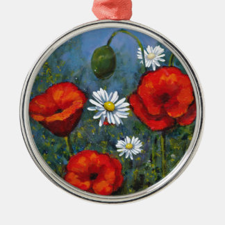 Poppies and Daisies: Floral Art, Flowers Christmas Ornament