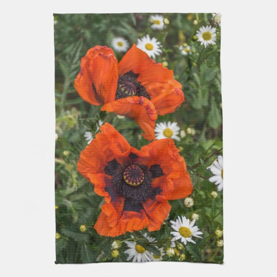 Poppies and daisies kitchen towel