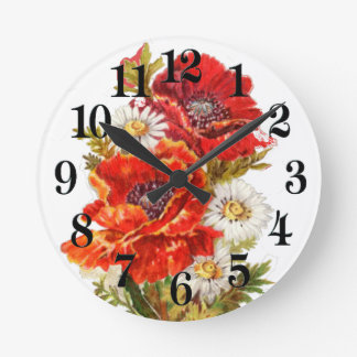 Poppies and Daisies Round Clock