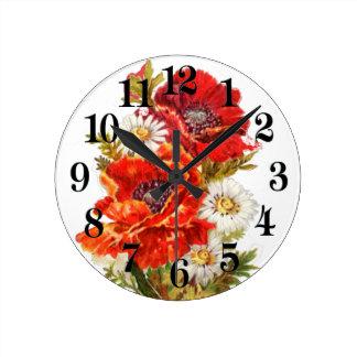 Poppies and Daisies Round Clock
