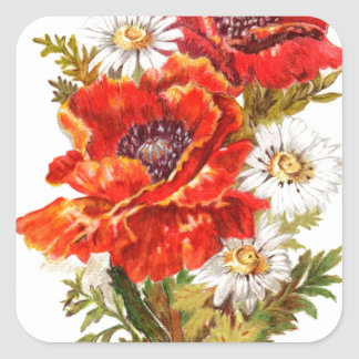 Poppies and Daisies Square Sticker