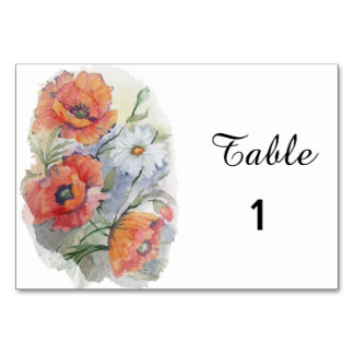 Poppies and daisy floral card
