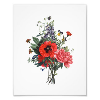 Poppies and Foxgloves Bouquet Photo Print