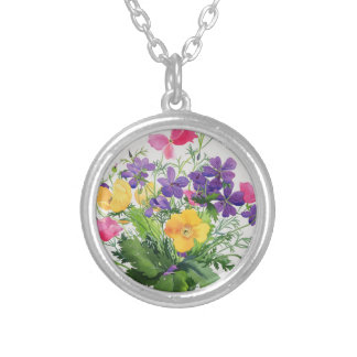 Poppies and Geraniums Silver Plated Necklace