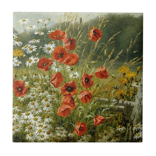 Poppies and Irises Small Square Tile