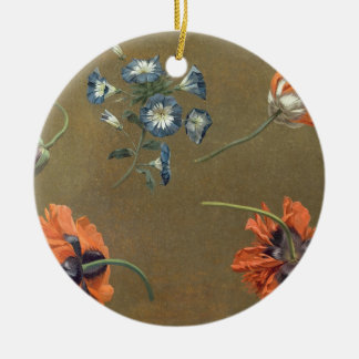 Poppies and Tradascanthus (oil on canvas) Christmas Ornament