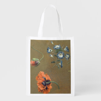 Poppies and Tradascanthus (oil on canvas) Reusable Grocery Bag