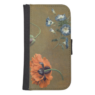 Poppies and Tradascanthus (oil on canvas) Samsung S4 Wallet Case