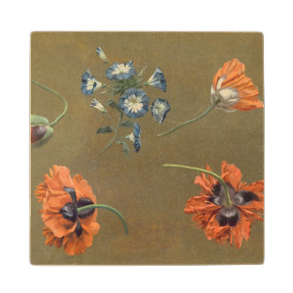 Poppies and Tradascanthus (oil on canvas) Wood Coaster