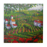 Poppies and Vineyards Ceramic Tile