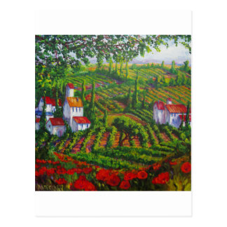 Poppies and Vineyards Postcard