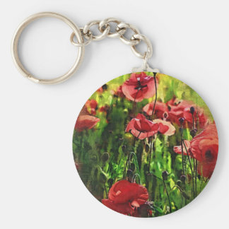 Poppies at Sunset Basic Round Button Key Ring