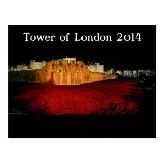 Poppies at the Tower of London - Night Panorama Postcard