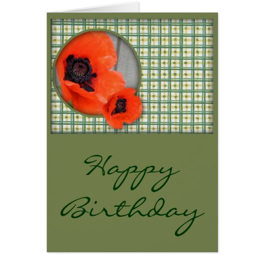 Poppies Birthday Card (Large Print)